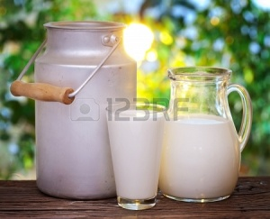 18958883-milk-in-various-dishes-on-the-old-wooden-table-in-an-outdoor-setting