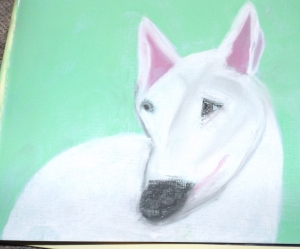A dog draw with chalk pastels.