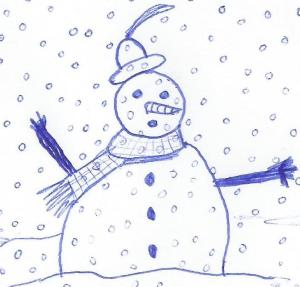 Inktober Snowman - copyright Tina Cousins 2016